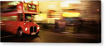 England, London, Bus On The Street Canvas Print