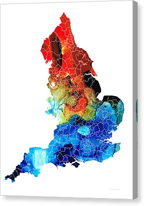 England - Map Of England By Sharon Cummings Canvas Print by Sharon Cummings