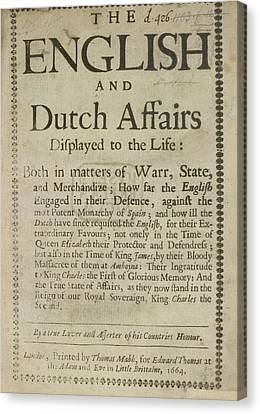 Lif Canvas Print - English And Dutch Affairs by British Library