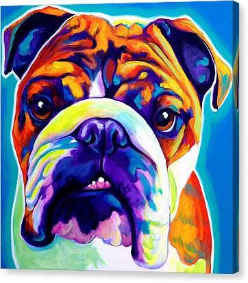 Bulldog - Bond -square Canvas Print by Alicia VanNoy Call