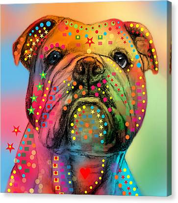 Bulldogs Canvas Print - English Bulldog by Mark Ashkenazi