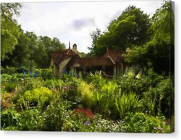 English Cottage Garden - Lush Summer Green In Watercolor Canvas Print by Georgia Mizuleva