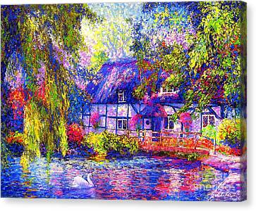 Weeping Willow Canvas Print - English Cottage by Jane Small