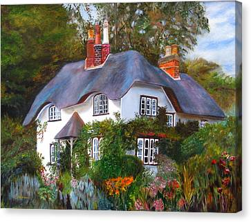 Canvas Print featuring the painting English Cottage by LaVonne Hand