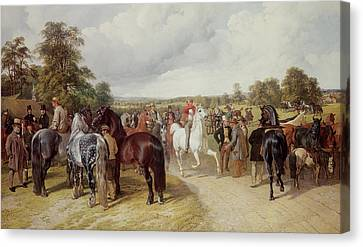 English Horse Fair On Southborough Common Canvas Print by John Frederick Herring Snr