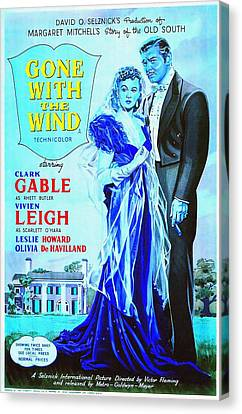 English Poster Of Gone With The Wind Canvas Print by Art Cinema Gallery