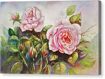 Canvas Print featuring the painting English Roses by Patricia Schneider Mitchell