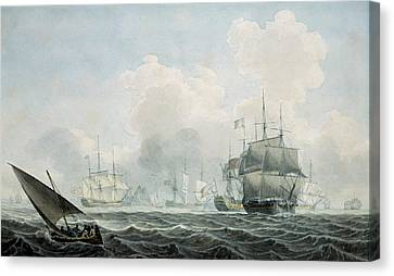 Water Vessels Canvas Print - English Ships Of War by Robert Cleveley