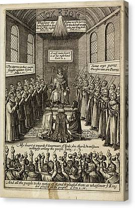 Engraving Of A King Enthroned Canvas Print