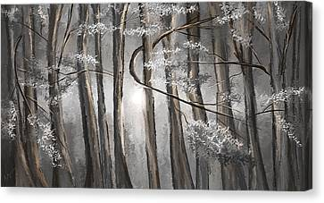 Enigmatic Woods- Shades Of Gray Art Canvas Print by Lourry Legarde