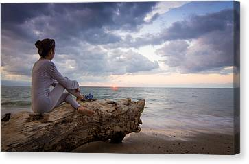 Enjoing The Sunset Canvas Print by Aged Pixel