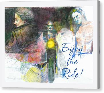 Canvas Print featuring the drawing Enjoy The Ride by Brooks Garten Hauschild