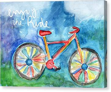 Enjoy The Ride- Colorful Bike Painting Canvas Print by Linda Woods