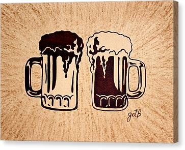 Enjoying Beer Canvas Print