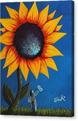 Enjoying Her Garden - Original Fairy Painting Canvas Print by Shawna Erback