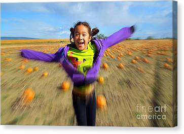 Enjoying Pumpkin Patch Canvas Print