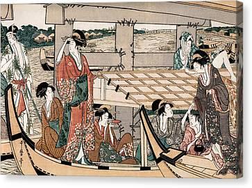 Enjoying The Cool At The Ryogoku Bridge I Canvas Print by Chris  Kusik