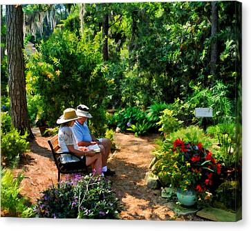 Loving Couple Enjoying Their Prayer Garden Canvas Print