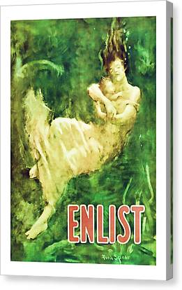 Enlist World War 1 Enlistment Art Canvas Print by Presented By American Classic Art