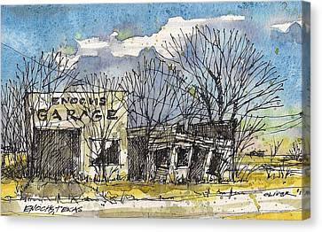 Canvas Print featuring the mixed media Enochs Garage by Tim Oliver