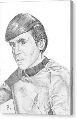 Canvas Print featuring the drawing Ensign Pavel Chekov by Thomas J Herring