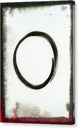 Enso #2 - Zen Circle Abstract Black And Red Canvas Print by Marianna Mills