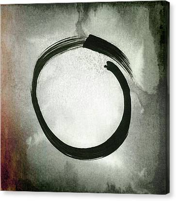 Enso #3 - Zen Circle Abstract Red And Black Canvas Print by Marianna Mills
