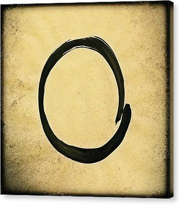 Enso #4 - Zen Circle Abstract Sand And Black Canvas Print by Marianna Mills