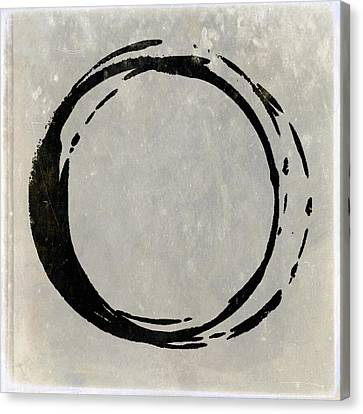 Enso No. 107 Black On Taupe Canvas Print by Julie Niemela
