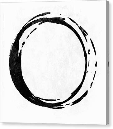 Enso No. 107 Black On White Canvas Print by Julie Niemela