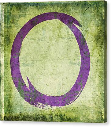 Enlightenment Canvas Print - Enso No. 108 Purple On Green by Julie Niemela