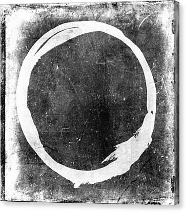 Enso No. 109 White On Black Canvas Print by Julie Niemela