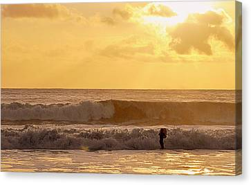 Canvas Print featuring the photograph Enter The Surfer by AJ  Schibig