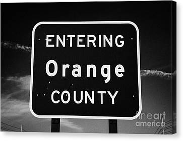 Entering Orange County Near Orlando Florida Usa Canvas Print by Joe Fox