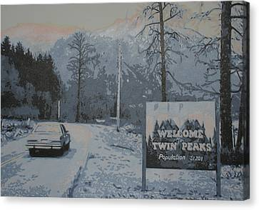 Entering The Town Of Twin Peaks 5 Miles South Of The Canadian Border Canvas Print by Luis Ludzska