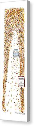 Cars Canvas Print - Entering Vermont by Mort Gerberg