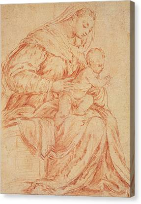 Character Study Canvas Print - Enthroned Madonna And Child by Jacopo Bassano