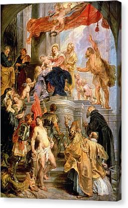 Enthroned Madonna With Child Encircled By Saints Canvas Print by Rubens