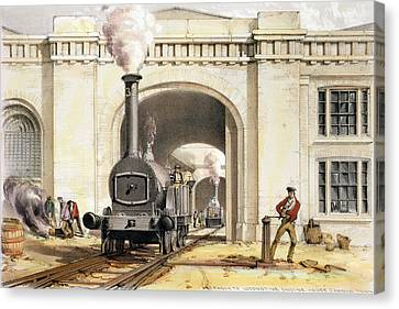 Entrance To Locomotive Engine House Canvas Print by John Cooke Bourne