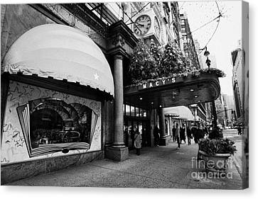 entrance to Macys department store on Broadway and 34th street at Herald square christmas Canvas Print by Joe Fox