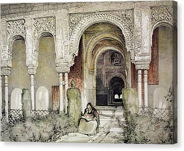 Alhambra Canvas Print - Entrance To The Hall Of The Two Sisters by John Frederick Lewis