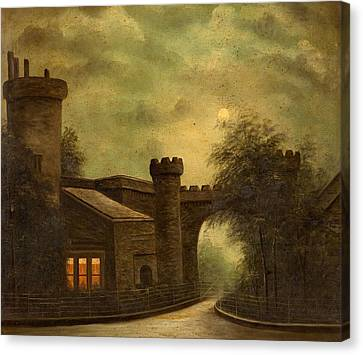 Entrance To Towneley Park, By Moonlight Canvas Print by English School