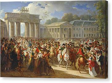 Entry Of Napoleon I 1769-1821 Into Berlin, 27th October 1806, 1810 Oil On Canvas Canvas Print by Charles Meynier