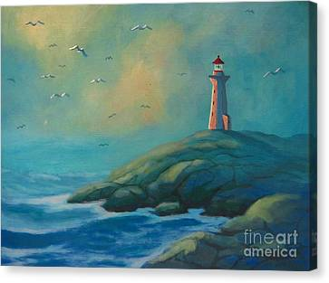 Envisioning Peggys Cove Lighthouse Canvas Print by John Malone