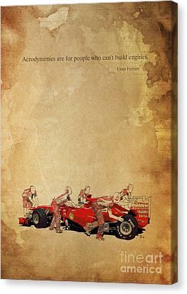 Enzo Ferrari Quote - Ferrari F1 Canvas Print by Pablo Franchi