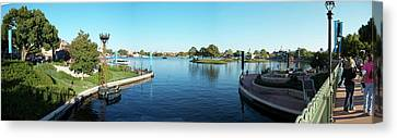 Epcot World Showcase Lagoon Panorama 05 Walt Disney World Canvas Print by Thomas Woolworth
