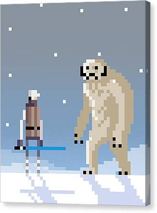 Epic Battle In The Snow Canvas Print by Michael Myers