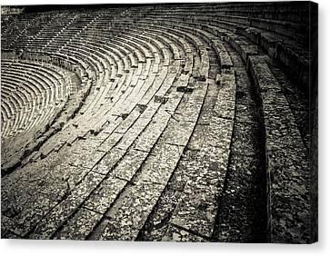 Byzantine Canvas Print - Epidavros Theatre Seats by David Waldo