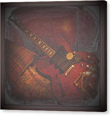 Epiphone Riveria Archtop Guitar Canvas Print by Rosemarie E Seppala