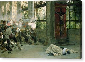 Episode From The War Of Independence, 1892 Oil On Canvas Canvas Print by Eugenio Alvarez Dumont
